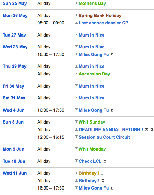 calendar of events format